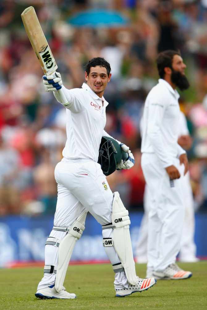 De Kock is all smiles after bringing up his maiden Test century