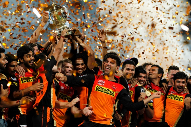 The Sunrisers Hyderabad celebrate after winning their maiden IPL title