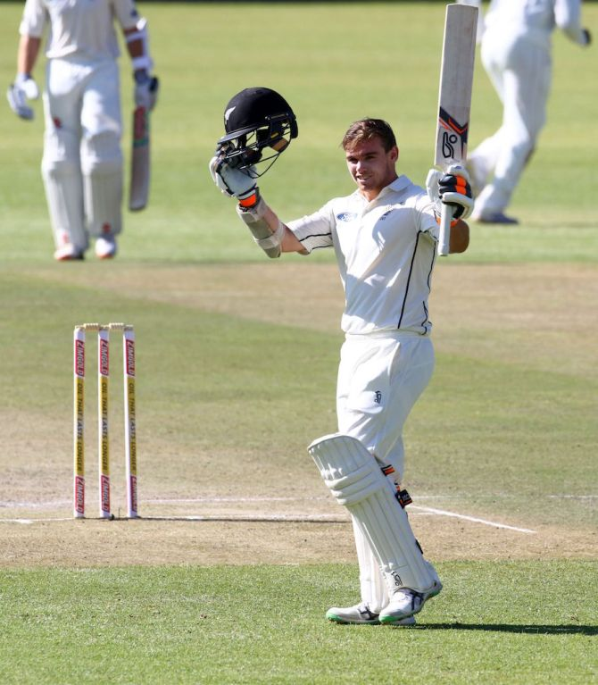 Latham celebrates after scoring his fourth Test century