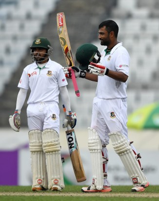 Iqbal celebrates after scoring his eighth Test century