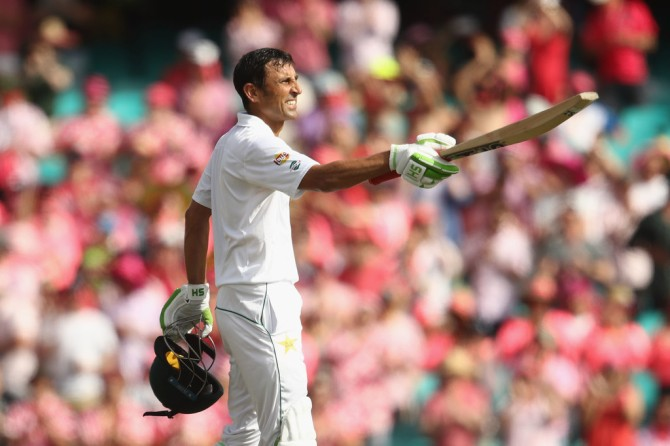 Younis celebrates after scoring his 34th Test century